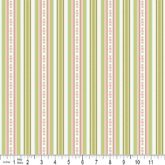 Cotton Fabric,  Pink Sweet Divinity Stripe green, 1/2 yard, LAST PIECE AVAILABLE