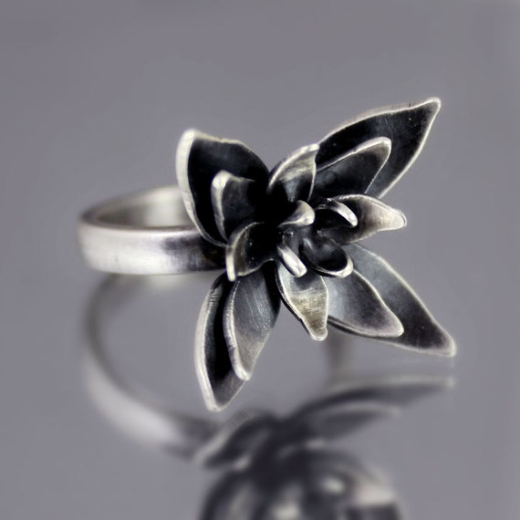 Oxidized Flower Blossom Ring - OOAK Sterling Silver Statement Ring - Nature Jewelry