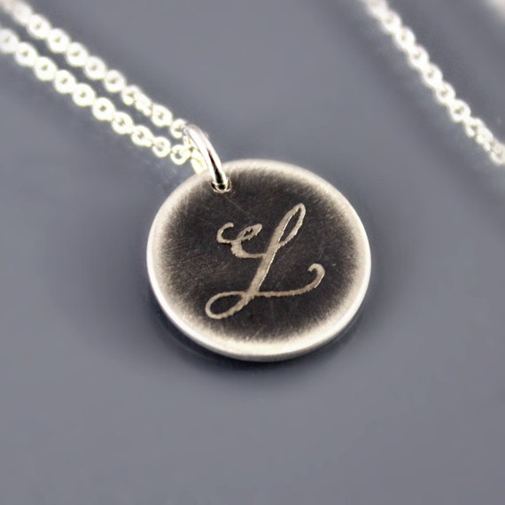 Initial L Pendant - Oxidized Silver Monogram Necklace