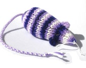 Knit Catnip Mouse Cat Toy in Bright Purple and White Acrylic Yarn