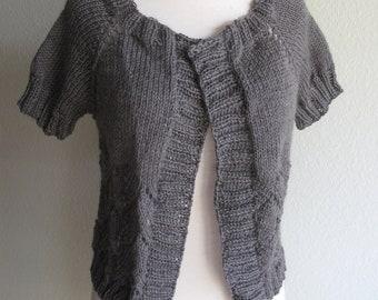 Grey Sweater Hand Knit  Merino Wool Sweater Pewter Grey Woman's Grey Sweater