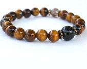 Tigereye Wrist Mala Bead Bracelet with Obsidian & Smoky Quartz - Buddhist Wrist Prayer Beads - Strength and Mental Clarity Yoga Bracelet