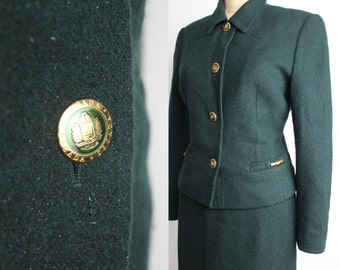 Escada Suit Set | Vintage Wool and Rabbit Fur Blend Skirt Suit | Dark Forest Green Suit Jacket | 38