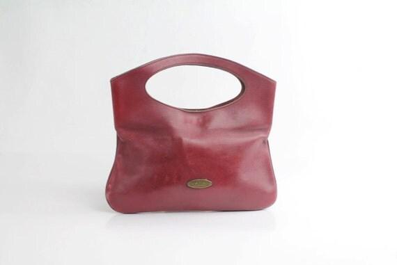 70s vintage ETIENNE AIGNER oxblood leather tote bag
