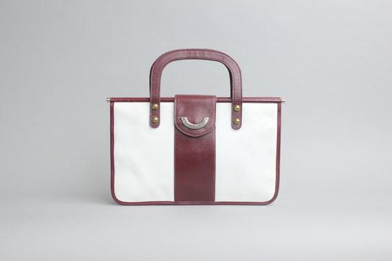 Etienne Aigner leather attache | two tone leather purse | vintage leather attache