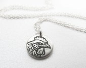 Tiny hen necklace -  silver chicken pendant eco friendly reclaimed