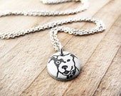 Tiny Pit bull necklace, silver dog jewelry, eco friendly, pet lovers, Pit Bull jewelry, dog lovers