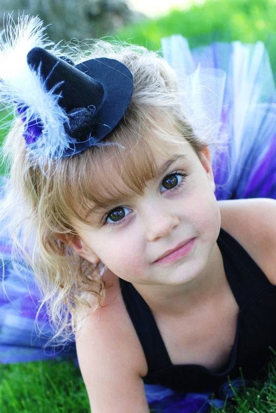 Over the Top Boutique Mini Black Witch Hat with Purple Flower and White Puff Topped with Black Pumpkins Happy Halloween