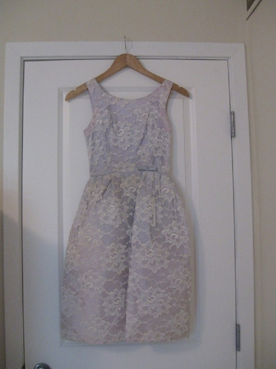 1950's Lavender Lace Party Dress with Removable Shell Extra Small to Small