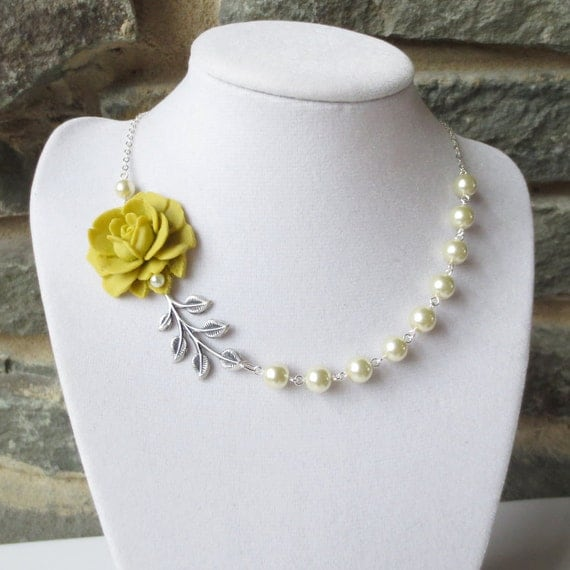 Items similar to flower garden statement necklace side rose items similar to flower garden statement necklace side rose pendant wedding bridesmaid olive green flower brass leaf ivory pearl on etsy mozeypictures Choice Image