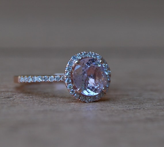 Final payment - 1.6ct round Peach sapphire Champagne sapphire ring diamond ring 14k rose gold Engagement ring