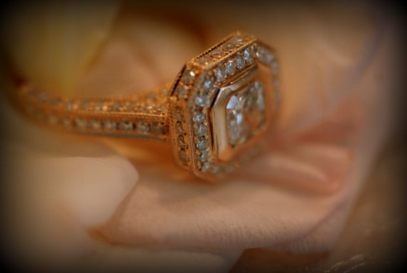 0.53ct VS2 Asscher cut Champagne diamond ring 14k rose gold
