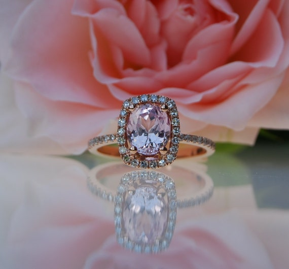 1.65ct cushion Peach sapphire Champagne sapphire ring diamond ring 14k rose gold Engagement ring