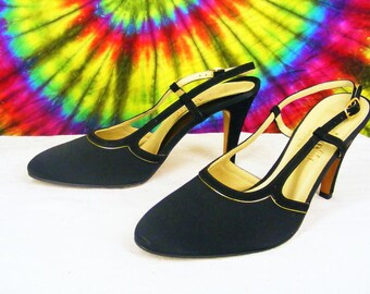 size 6 B vintage late 70's early 80's Amalfi by Rangoni black satin silk with suede trim slingback pumps heels shoes NOS