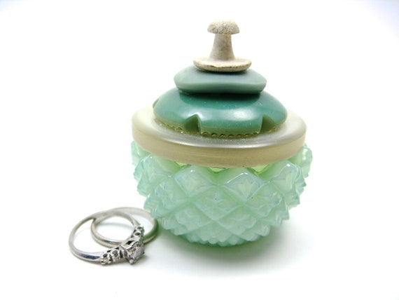 Minty Glass Salt Cellar Ring Box with Vintage Button Lid