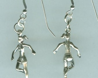 Sterling Silver JOGGER Earrings -  French Earwires - Sports, Running