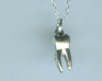 Sterling Silver TOOTH - MOLAR Pendant and Chain - Dental, Hygienest, Dentist - 3D