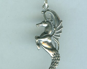 Sterling HIPPOCAMPUS Pendant and Chain - 3D - Winged Seahorse
