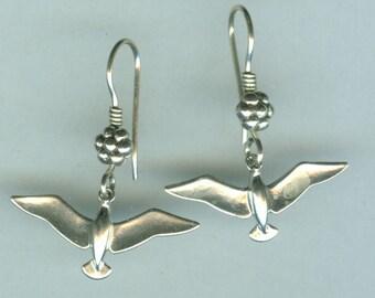 Sterling Silver SEAGULL  Earrings - French Earwires - Bird