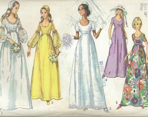 1970s Vintage Sewing Pattern Simplicity 9260 Wedding Dress Bridal Gown Bridesmaid Size 12 Bust 34 1971