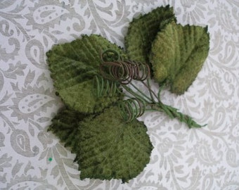 Small Grape Leaves plus tendrils (set of 5) Velvet Leaves for hair garland, hat decoration, or craft in green