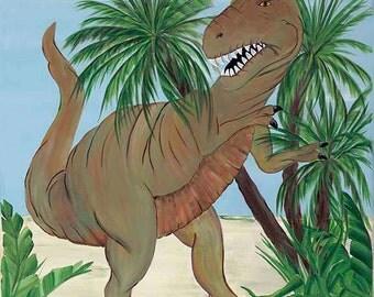 Tyrannosaurus Rex Dinosaur Boys Kids Art Stretched Canvas  11x14