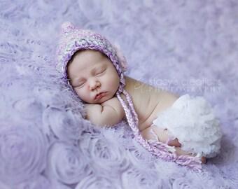 Baby Easter Bonnet, Crochet Baby Hat, Crochet Baby Bonnet, Newborn Girl Hat, Baby Girl Hat, Infant Girl Hat, Purple, Baby Pixie Hat