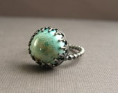 Sterling Silver Ring with Handmade Enameled Stone
