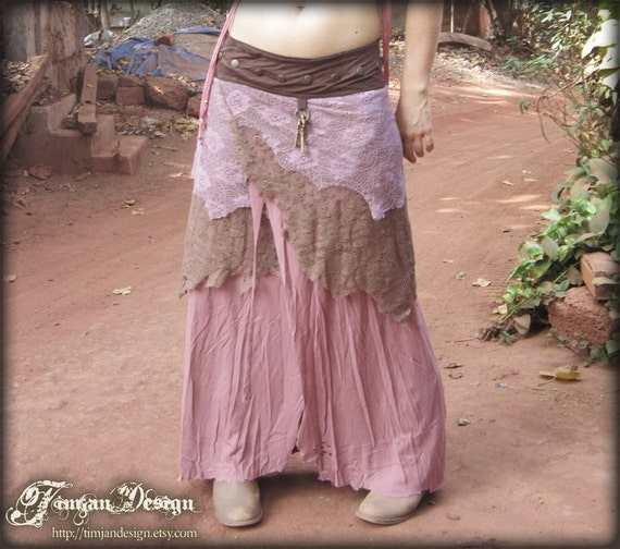 SALE.. PIXIE SKIRT - Long Organic Wrap around - Dusty rose mauve pink - Faery fairy fantasy costume