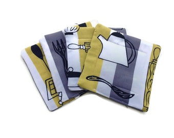 Handmade Quilted  Coasters set of 4 Retro Kitchen Yellow Gray