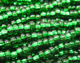 6/0 Brilliant Green Silver Lined Czech Glass Seed Beads 12 grams