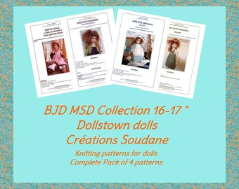 Complete Collection pack of 4 PDF Knitting Patterns BJD MSD Dollstown 16-18 inches dolls