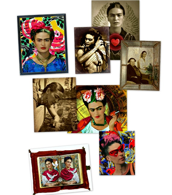 Frida Kahlo Postcards x 8 Original Digital Art Prints Mixed Media Collage Little Prints Snail Mail Card