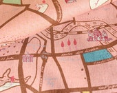 Berlin Map by Marie Jacobi (Pink)-Japanese cotton linen fabric (0.5 yard)