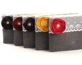 FALL WEDDING- Bridesmaids Gifts- Custom Purses- 5 Grey Clutch Envelopes with Satin Flower and Pearl Center