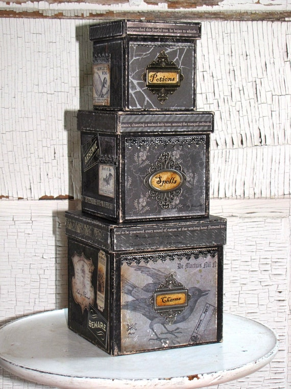 RESERVED for Maria Set of Three Vintage Halloween Inspired Witch's Spells POTIONS and CHARMS Paper Mache Boxes
