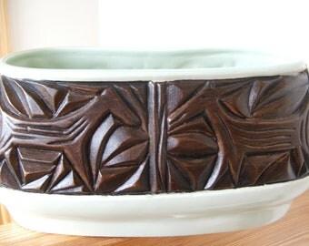 Vintage Ceramic Planter with primitive animal design