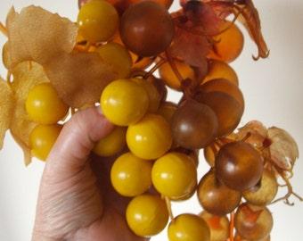 2 clusters of vintage plastic grapes
