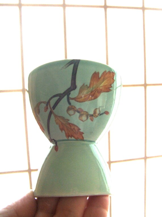 Vintage Eggcup Aqua with oak leaves and acorns