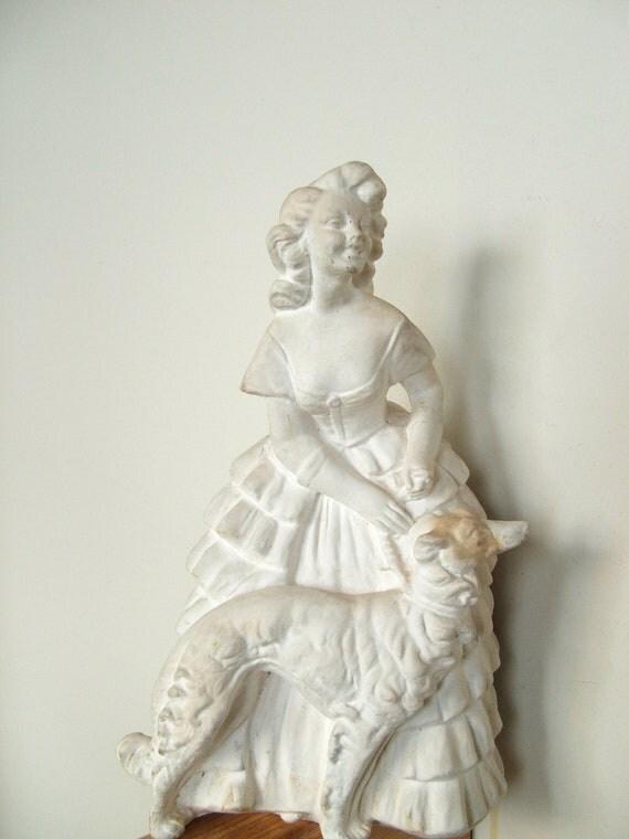 Vintage Chalkware Woman and Borzoi Dog