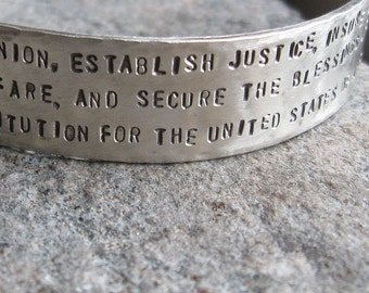 Rustic Hand Forged Sterling Silver Constitution Cuff