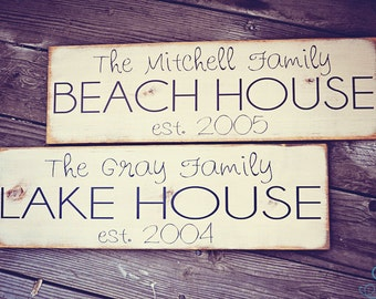 Personalized Family Name & Established Year - Beach or Lake House Sign