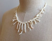 Vintage White Coral Branch Necklace.