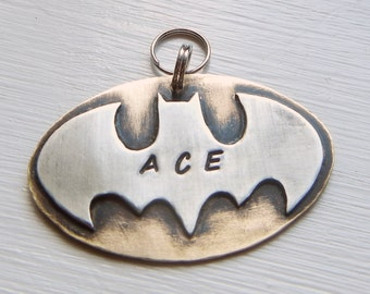 BATMAN Dog Tag-Pet ID Tag-Unique Pet Tag-Super Heroes Pet Tag-Custom Handstamped Identification Dog Tag-Handcrafted Brass And Nickel Silver