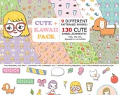 Digital Scrapbooking: Cute & Kawaii (130 embellishments -  kittens, puppies, owls, food, washi tape, girls, flowers)