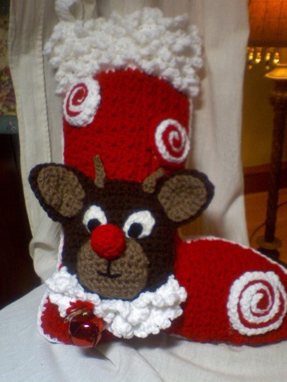 Christmas Rudolph Stocking. Crocheted, Personalized and made to order