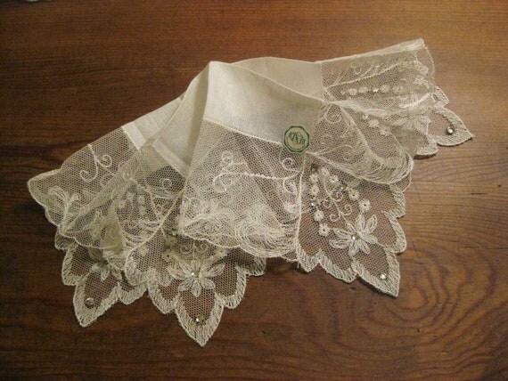 MINT NetLace Linen Ivory Vintage Hanky - ID Rhinestones - Formal Bridal Wedding - Bride