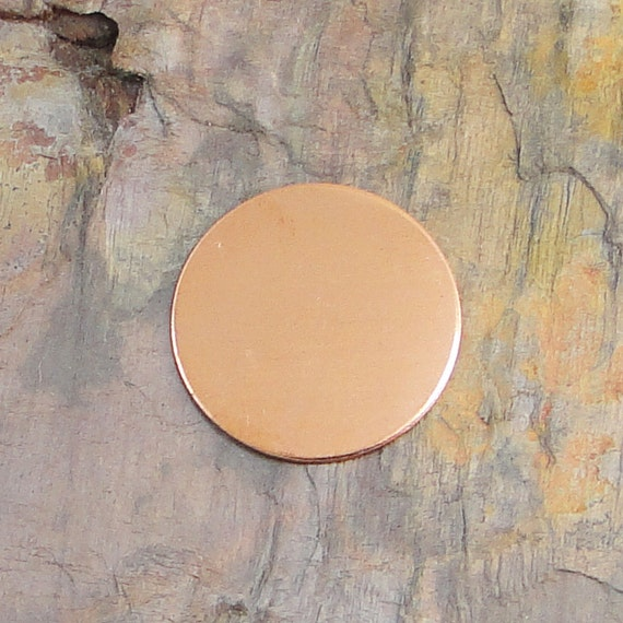 """15 Deburred 18 Gauge Copper 1 1/4"""" 1.25 inch Stamping Blanks Discs"""