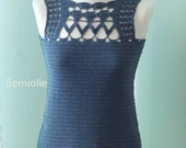 Denim blue lace cotton crochet top tank B191