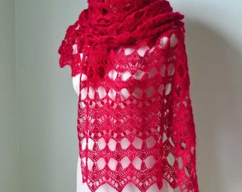 Crochet shawl, scarf, lace, Ruby Red  H784